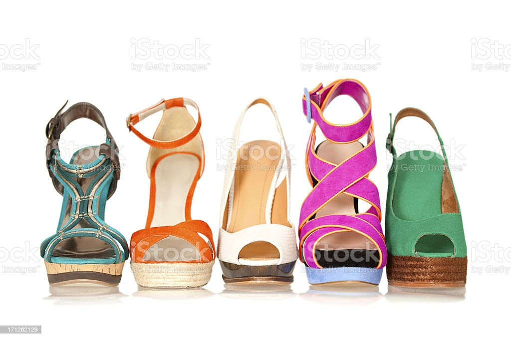 Five summer and spring style women's high heels stock photo