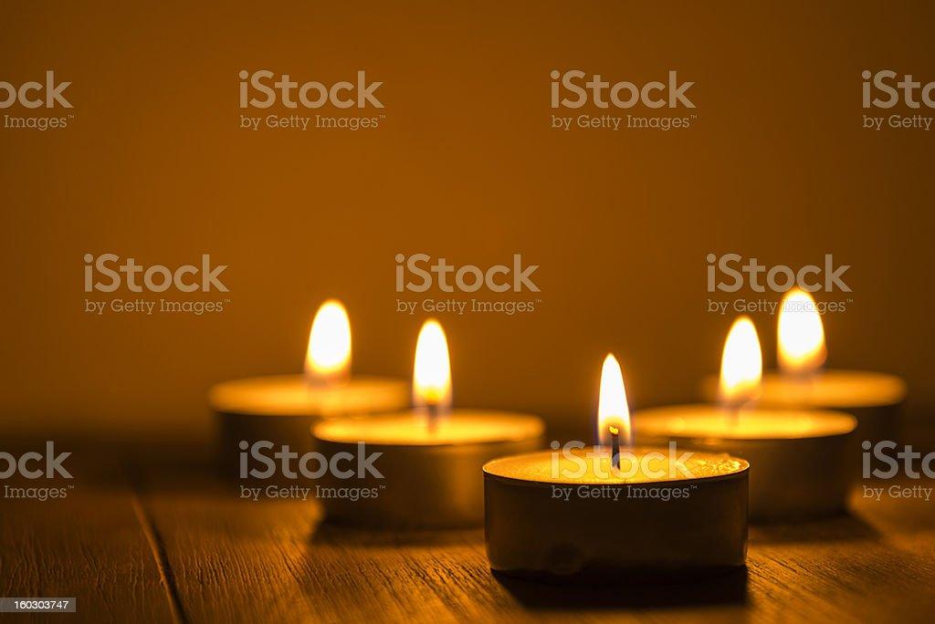 five tea lights stock photo