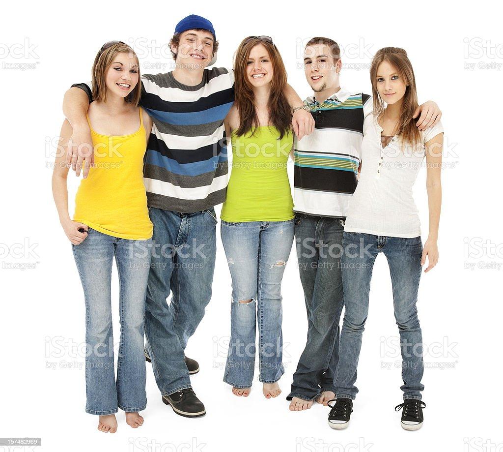 Пять молодых друзей стоковое фото