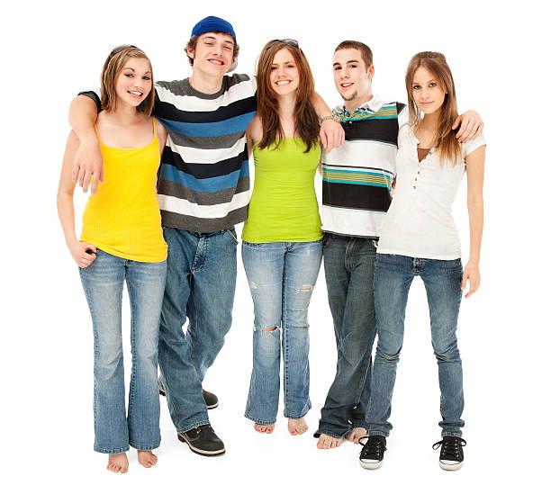 Five Teen Friends stock photo