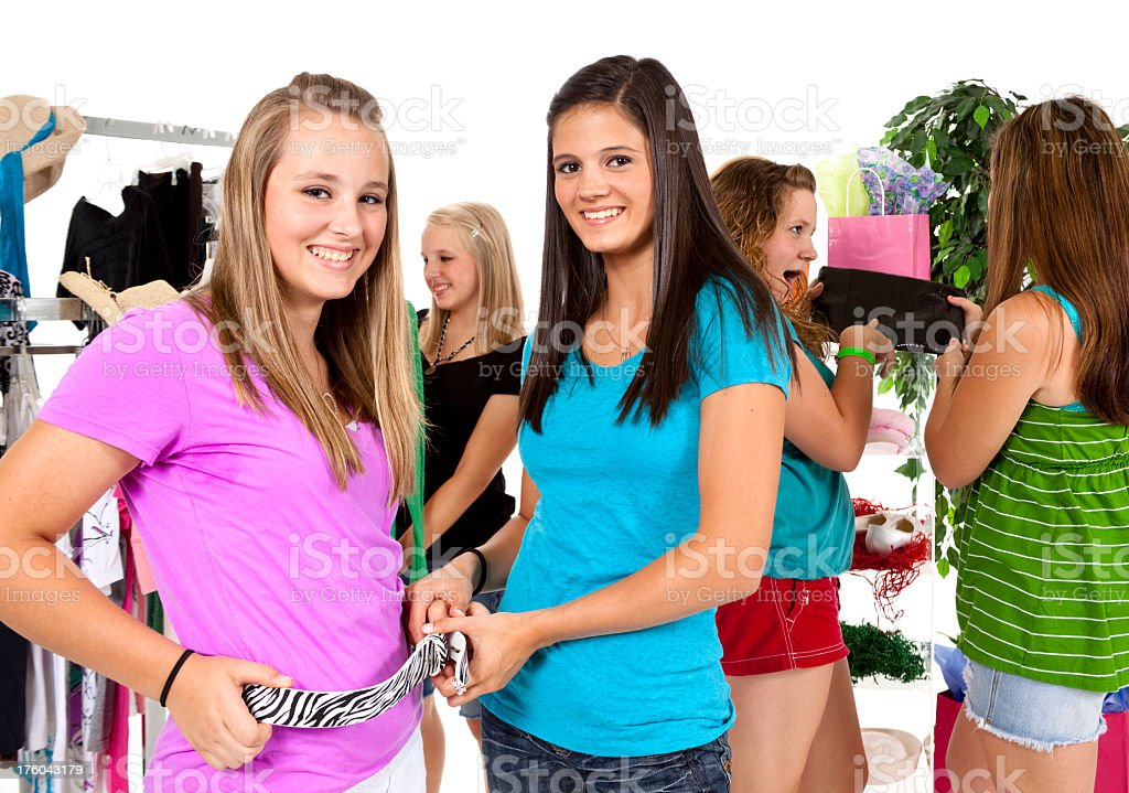 Five Teenage girls shopping for back to school clothes. royalty-free stock photo