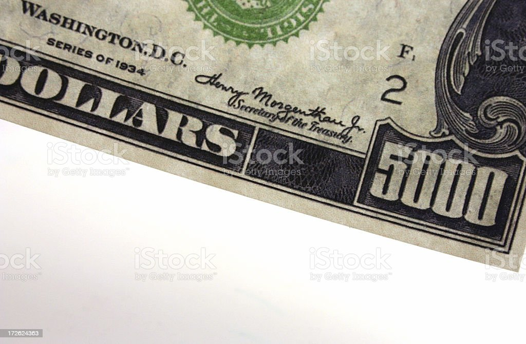 U.S. Five Thousand Dollar Bill stock photo