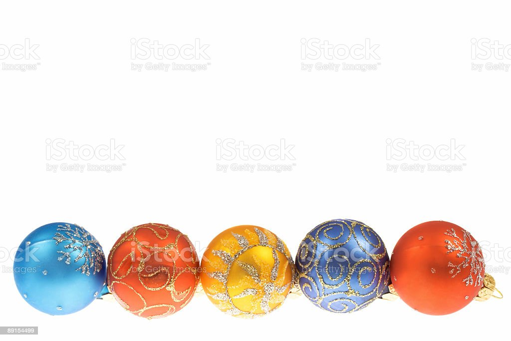 Five traditional Christmas balls isolated on a white background royalty-free stock photo