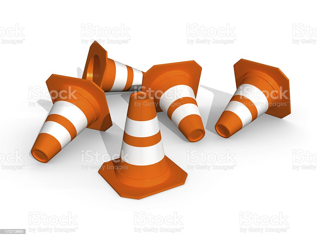 Five traffic-cones. royalty-free stock photo
