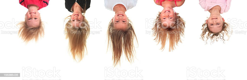 Five Upside Down Little Girl stock photo