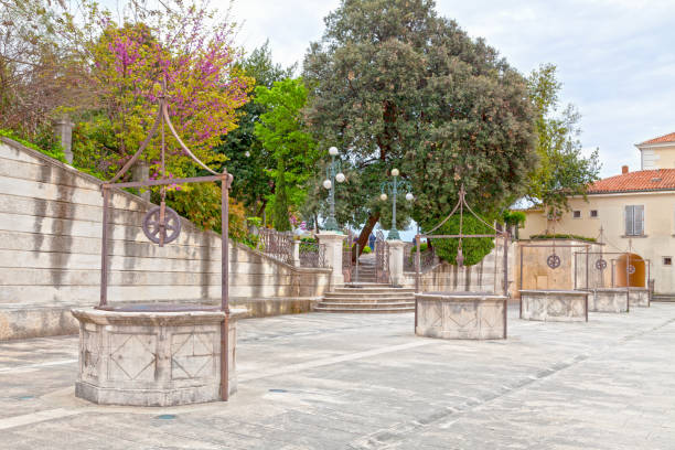 Five Wells Square in the old town of Zadar stock photo