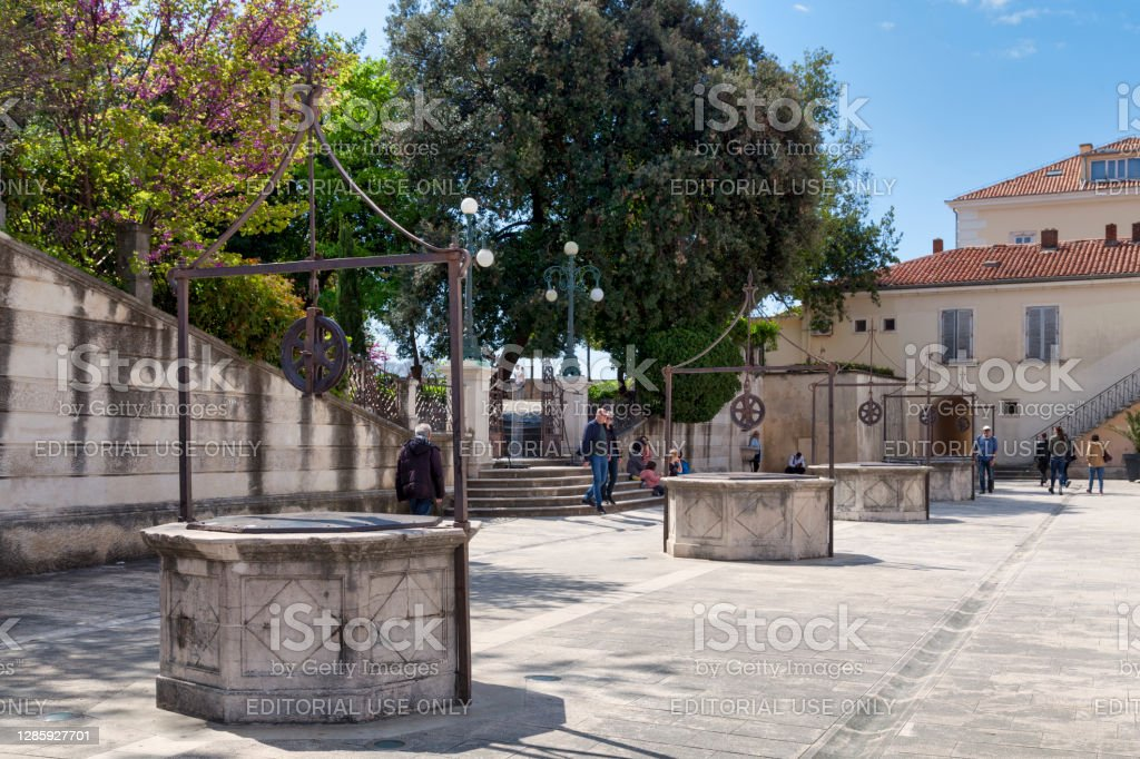 Five Wells Square in Zadar Zadar, Croatia - April 15 2019: The Five Wells Square in the old town, one of the most iconic landmark of the city. Ancient Stock Photo