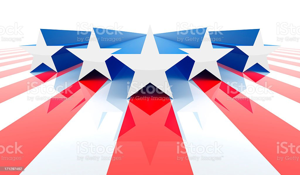 Five white and blue stars on red stripes for America stock photo