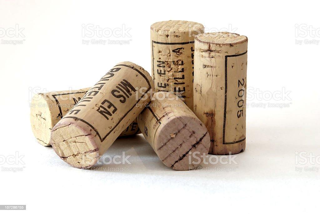 Five wine corks stock photo
