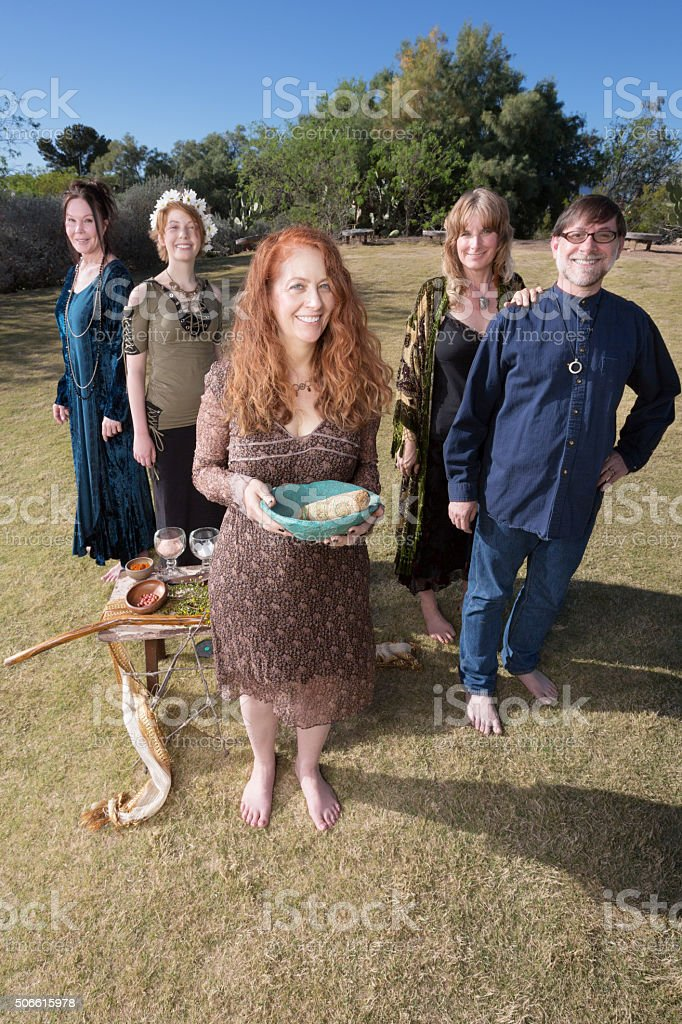 Five Witches with Smudge Stick Outdoors stock photo