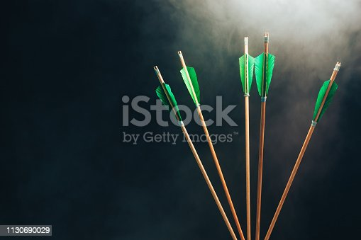 istock Five wood arrow. Beautiful smog background. Medieval weapons are handmade. 1130690029