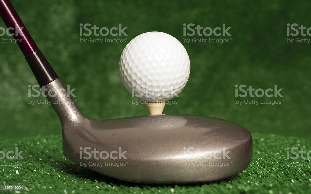 Five Wood Club Sitting with Teed Up Golf Ball royalty-free stock photo