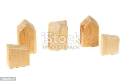 Five Wooden Home Building Blocks Stock Photo & More Pictures of Activity