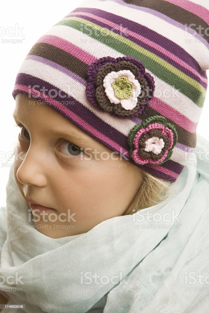 five year old girl in winter cap stock photo