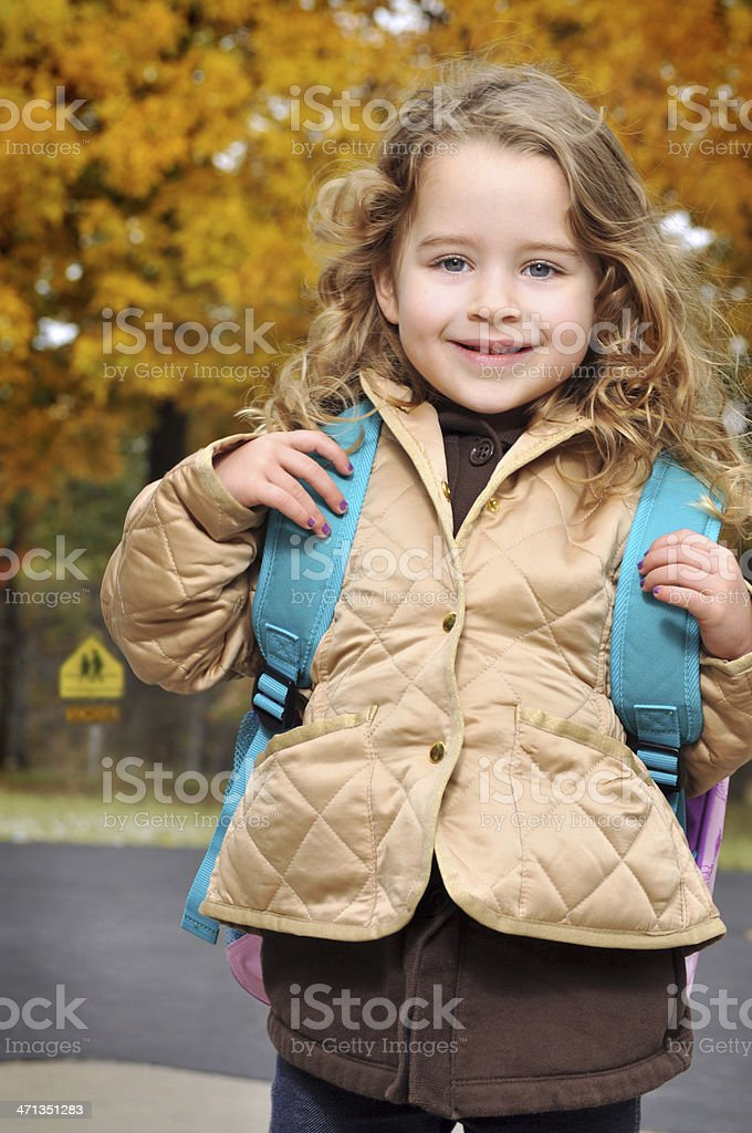 Five Year Old Girl Ready for First Day of School stock photo