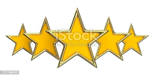 Five yellow golden stars 3D render illustration isolated on white background