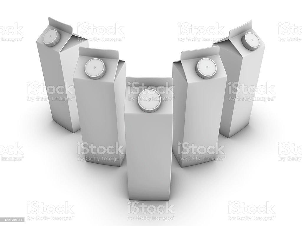 Cinco Yougurt/leite/suco de pacotes - foto de acervo