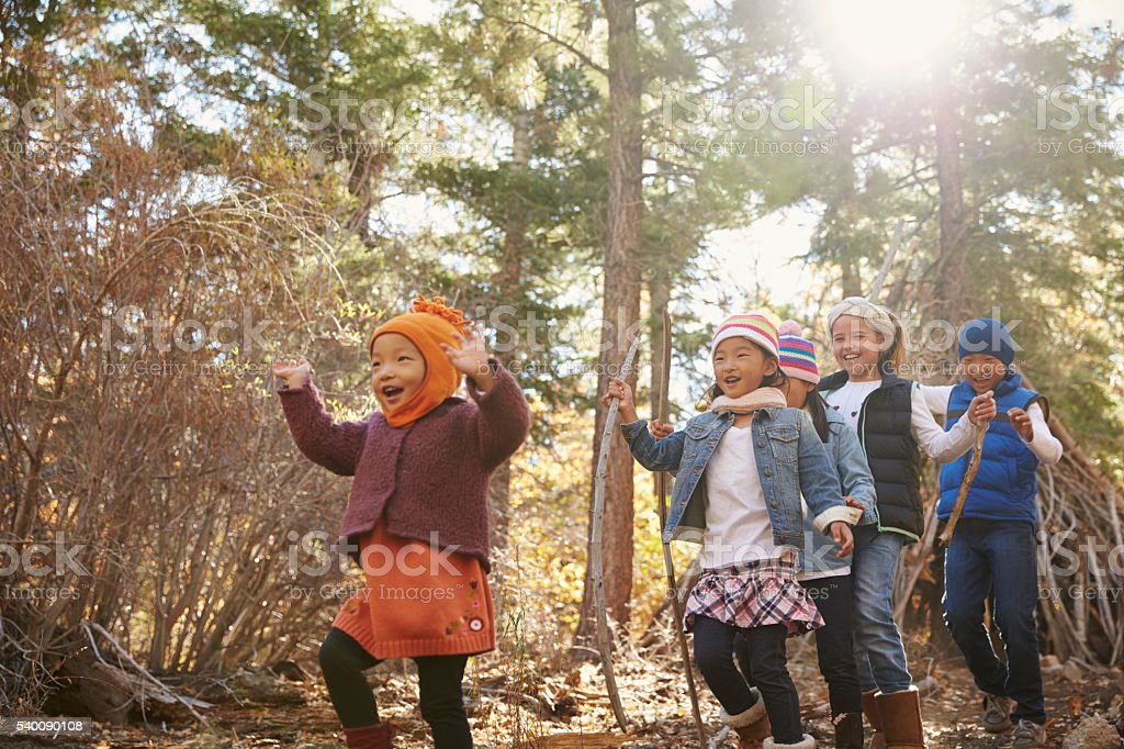 Five young children playing together in a forest, stock photo