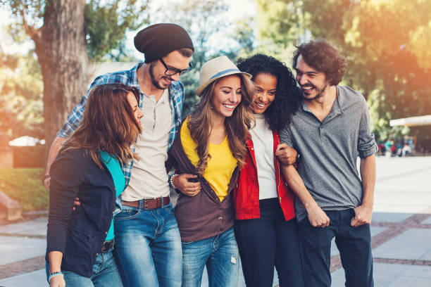 Five young people having fun together stock photo