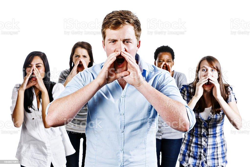 Five young people shouting in warning or encouragement royalty-free stock photo