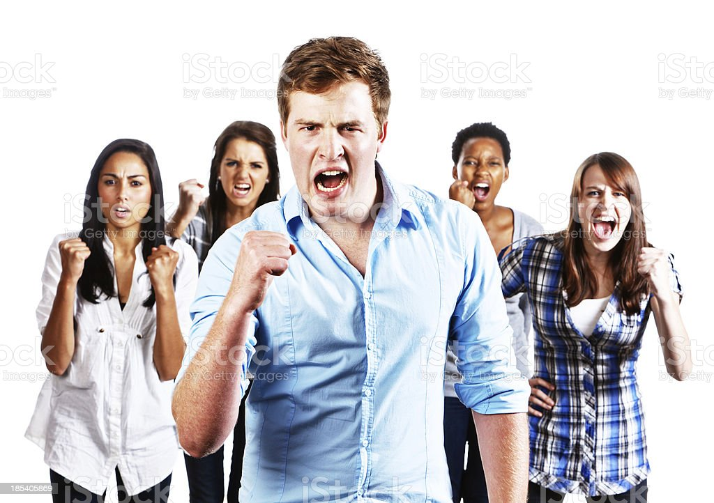 Five young people with clenched fists shouting royalty-free stock photo