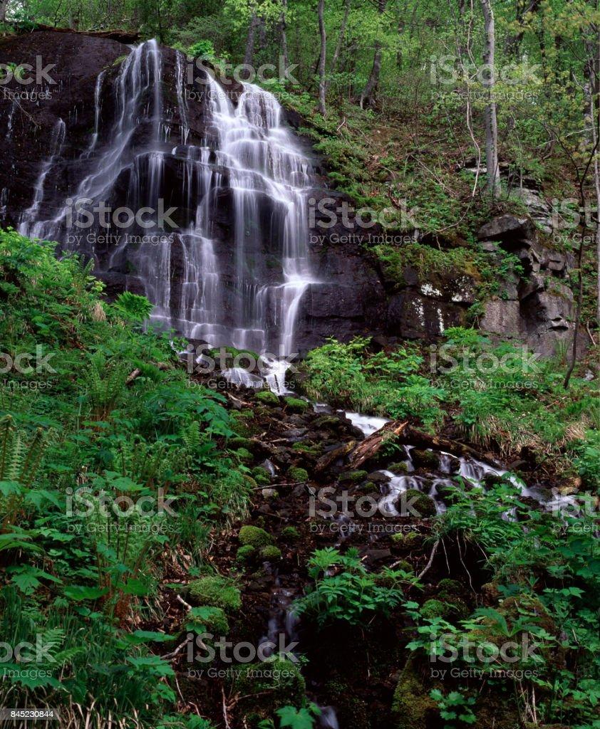Five-car waterfall stock photo