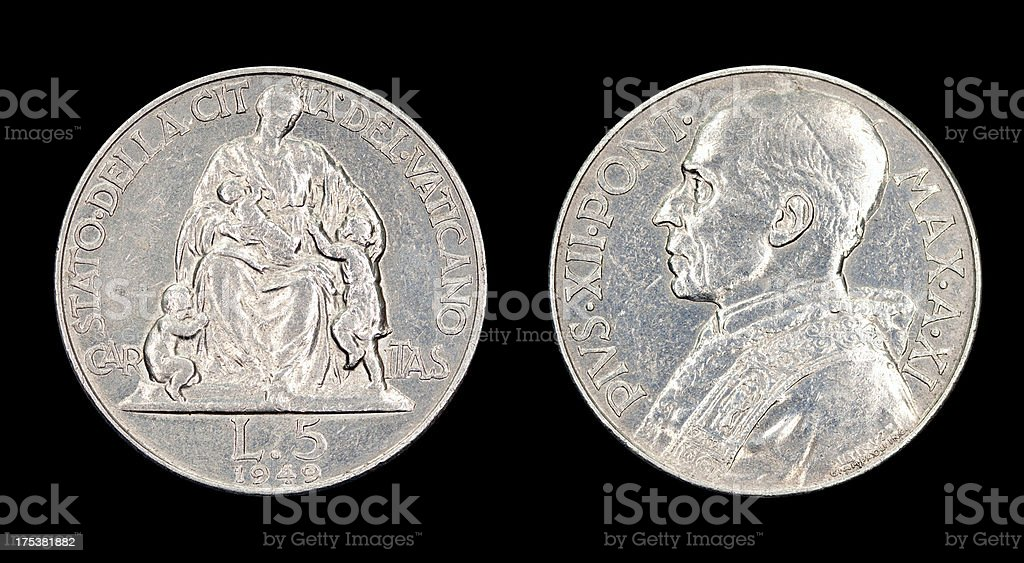 Five-Lire-Coin, Vatican, 1949 stock photo