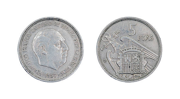 Five-Peseta-Coin, Spain, 1957 stock photo