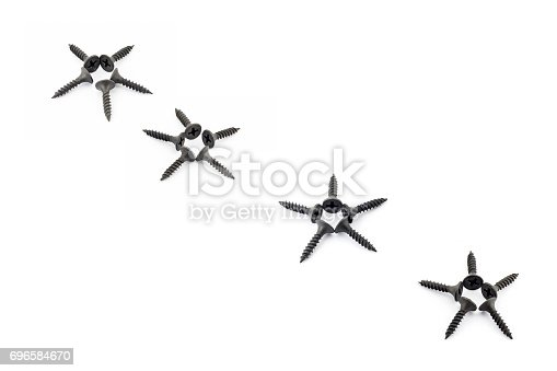 istock Five-pointed stars lined diagonally with black screws on a white background 696584670