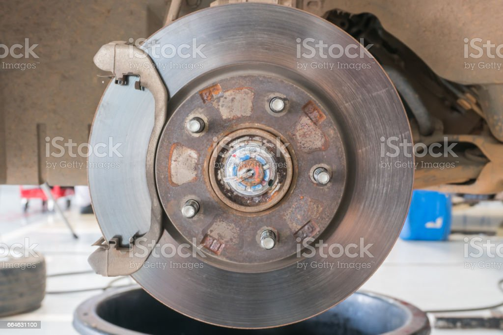 fix Front Disk brake assembly on a car stock photo