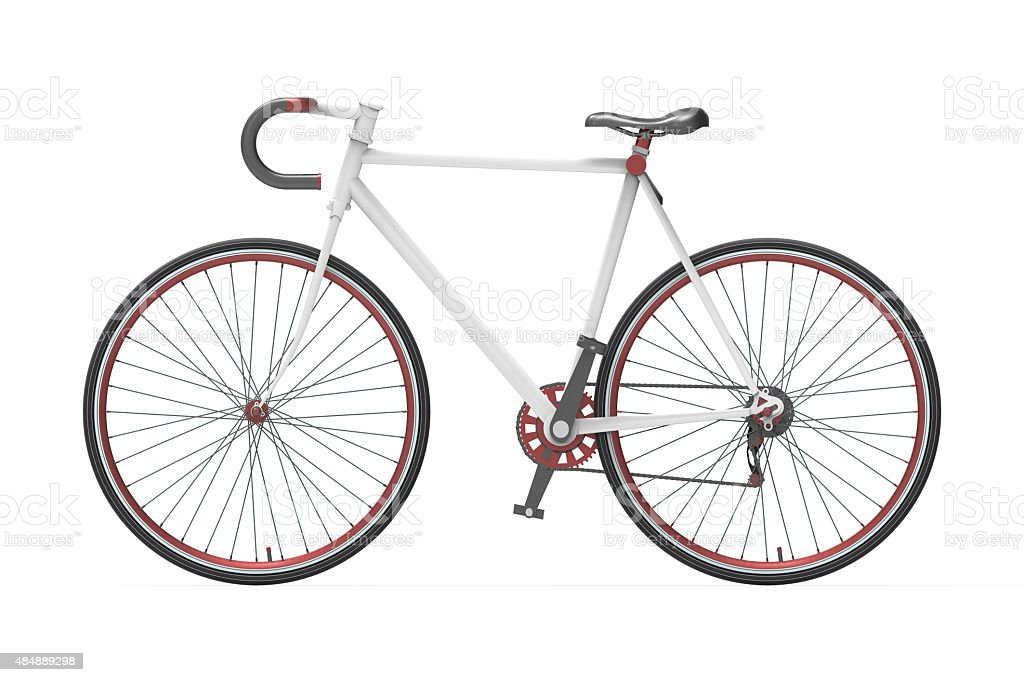 Fixed gear city bicycle Color mixing Isolated background stock photo