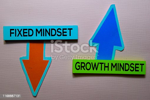 istock Fixed Mindset and Growth Mindset text on sticky notes isolated on office desk 1168887131