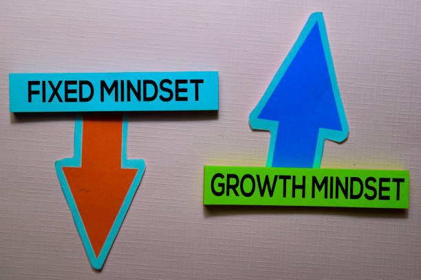 Fixed Mindset and Growth Mindset text on sticky notes isolated on office desk stock photo