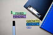 istock Fixed Mindset or Growth Mindset text on sticky notes with office desk concept 1158906596