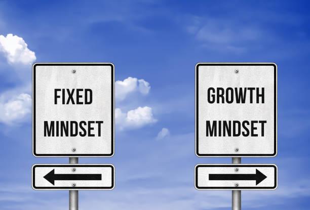 Fixed Mindset versus Growth Mindset stock photo