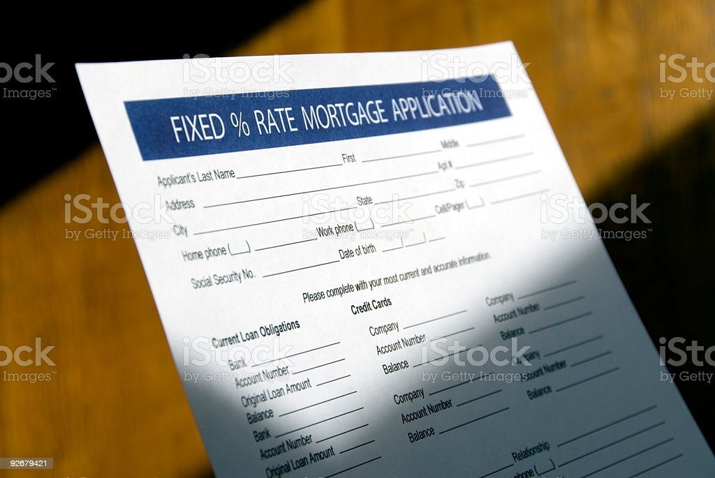 Fixed Rate Mortgage - Application Form royalty-free stock photo