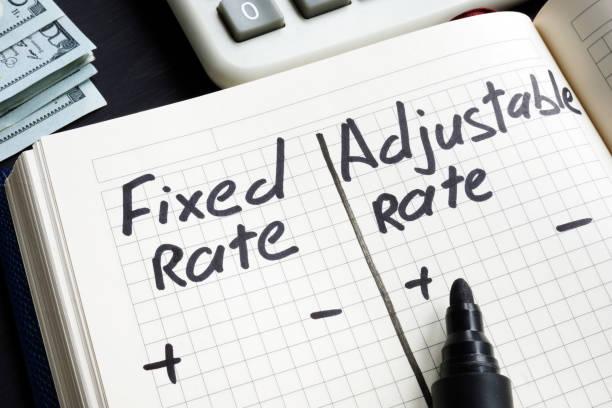 festes preis-vs. einstellbarer rate von hypothekenvor-und-vorteilen. - verstellbar stock-fotos und bilder