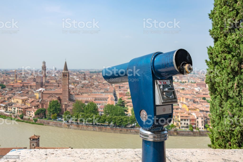 Fixed telescope with a view high over Verona, Italy stock photo