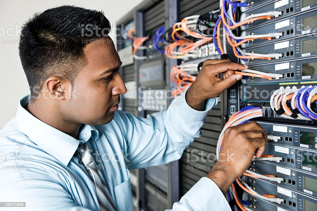 Fixing a network server royalty-free stock photo