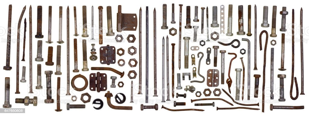 Fixing steel rusty metal elements - bolts, screws, bracket, nuts,  hooks big set. Isolated retro macro concept stock photo