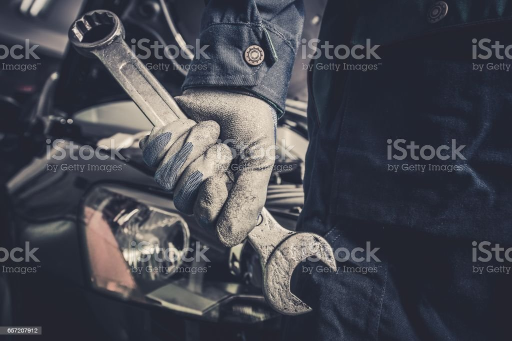 Fixing the Car Concept stock photo