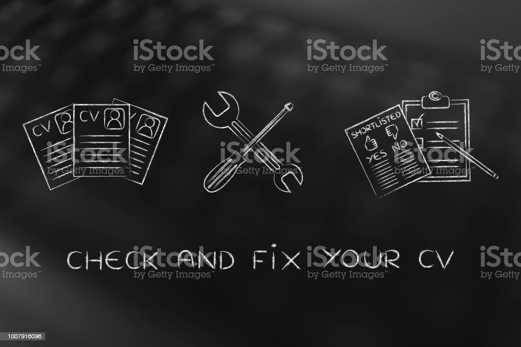 fixing your resume, CV papers with wrench & screwdriver stock photo