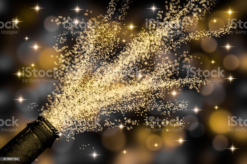 fizzing sparkling wine stock photo