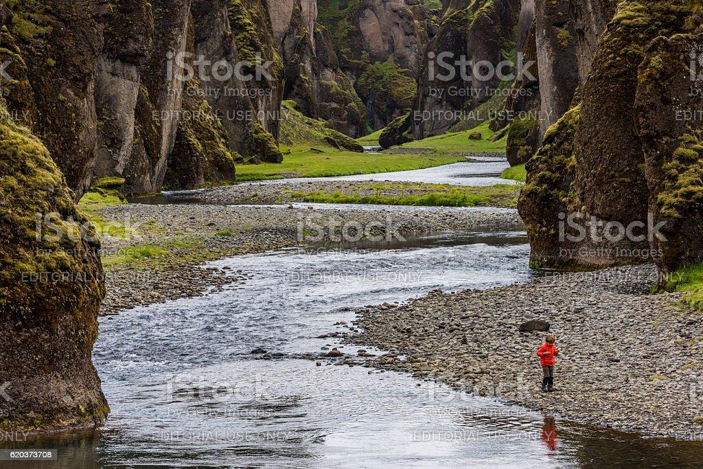 Fjadrargljufur Canyon Iceland with Boy zbiór zdjęć royalty-free
