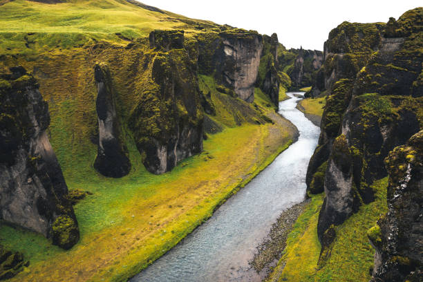 fjadrargljufur canyon in iceland - borchee stock pictures, royalty-free photos & images