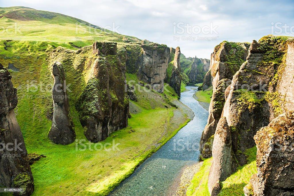 Fjadrargljufur canyon with river and big rocks. stock photo