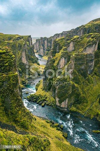 istock Fjaðrárgljúfur canyon - waterfall and river - Iceland 1263118222