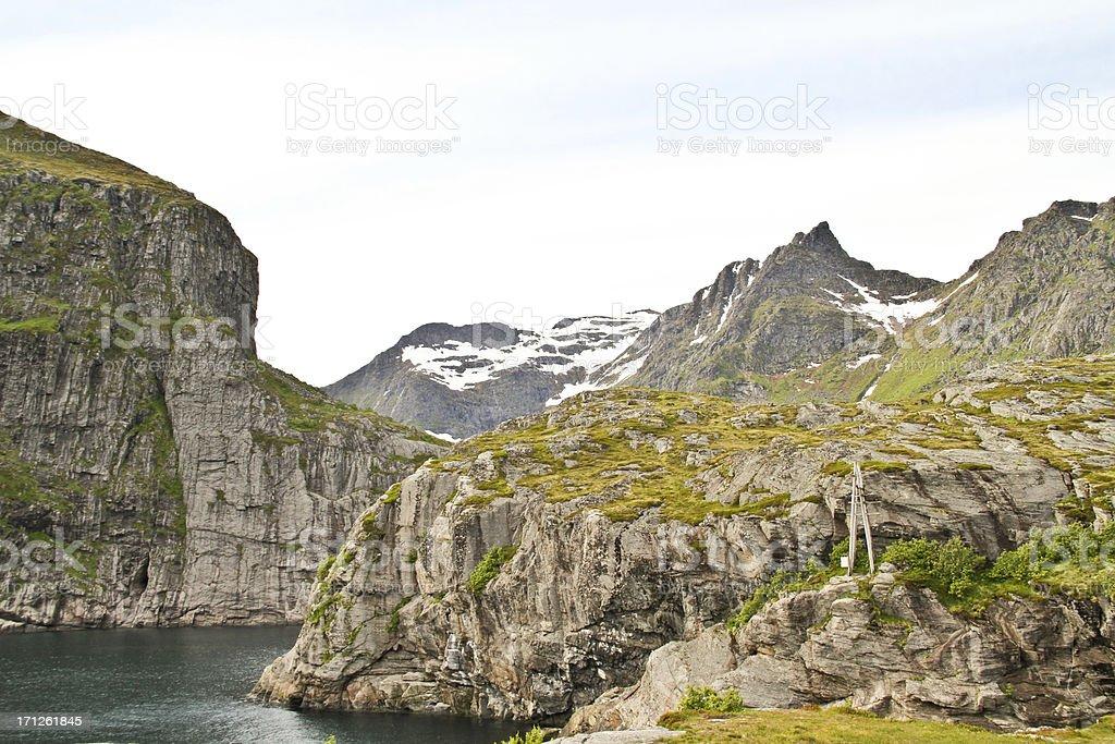 Fjord and mountains on Lofoten Norway royalty-free stock photo
