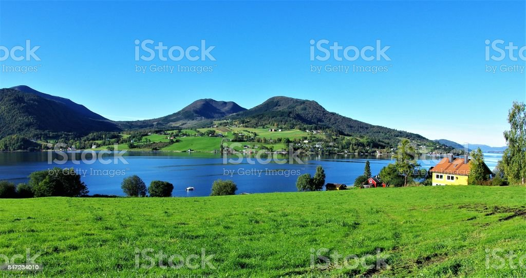 Fjord, Forest & Mountain - the natural beauty of More Og Romsdal in Western Norway stock photo