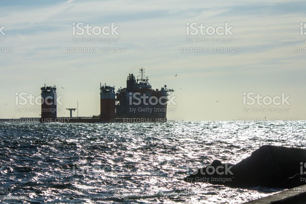 Fjord heavy lift vessel at Hoek van Holland harbor stock photo